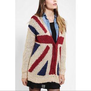 UO Sparkle & Fade British Flag Oversized Cardigan